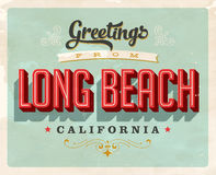 Vintage greetings from Long Beach vacation card. Vintage vector greetings vacation card, with a realistic used and worn effect that can be easily removed for a Stock Photos