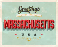 Vintage greetings from Massachusetts Vacation Card. Vintage vector greetings from Massachusetts vacation Card, with a realistic used and worn effect that can be Stock Images