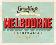 Vintage greetings from Melbourne, Australia vacation card Royalty Free Stock Images
