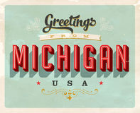 Vintage greetings from Michigan Vacation Card. Vintage vector greetings from Michigan vacation Card, with a realistic used and worn effect that can be easily Stock Photos