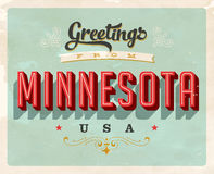 Vintage greetings from Minnesota Vacation Card. Vintage vector greetings vacation Card, with a realistic used and worn effect that can be easily removed for a Stock Photography