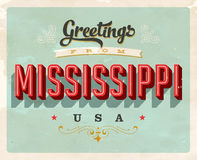 Vintage greetings from Mississippi Vacation Card. Vintage vector greetings from Mississippi vacation Card, with a realistic used and worn effect that can be Stock Images