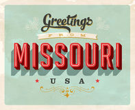 Vintage greetings from Missouri Vacation Card. Vintage vector greetings from Missouri vacation Card, with a realistic used and worn effect that can be easily Stock Photos