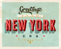 Vintage greetings from New York Vacation Card. Vintage vector greetings from New York vacation Card, with a realistic used and worn effect that can be easily Royalty Free Stock Images
