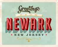 Vintage greetings from Newark vacation card. Vintage vector greetings vacation card, with a realistic used and worn effect that can be easily removed for a clean Royalty Free Stock Photos