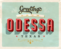Vintage greetings from Odessa vacation card Stock Images