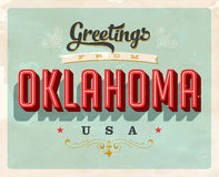Vintage greetings from Oklahoma Vacation Card. Vintage vector greetings vacation Card, with a realistic used and worn effect that can be easily removed for a Royalty Free Stock Image