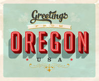 Vintage greetings from Oregon Vacation Card. Vintage vector greetings vacation Card, with a realistic used and worn effect that can be easily removed for a clean Stock Photo