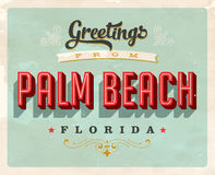 Vintage greetings from Palm Beach vacation card. Vintage vector greetings vacation card, with a realistic used and worn effect that can be easily removed for a Royalty Free Stock Image