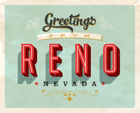 Vintage greetings from Reno vacation card. Vintage vector greetings vacation card, with a realistic used and worn effect that can be easily removed for a clean Stock Photography