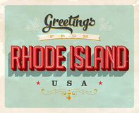 Vintage greetings from Rhode Island Vacation Card. Vintage vector greetings vacation Card, with a realistic used and worn effect that can be easily removed for a Stock Photo