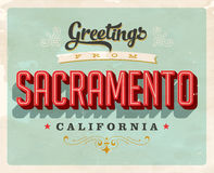 Vintage greetings from Sacramento vacation card. Vintage vector greetings vacation card, with a realistic used and worn effect that can be easily removed for a Royalty Free Stock Photography