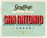 Vintage greetings from San Antonio vacation card. Vintage vector greetings vacation card, with a realistic used and worn effect that can be easily removed for a Royalty Free Stock Photo