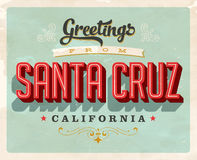 Vintage greetings from San Cruz vacation card Royalty Free Stock Photography