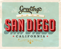 Vintage greetings from San Diego vacation card Stock Images