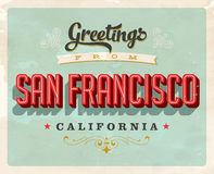 Vintage greetings from San Francisco, California vacation card. Vintage vector greetings vacation card, with a realistic used and worn effect that can be easily Stock Photo