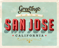 Vintage greetings from San Jose vacation card. Vintage vector greetings vacation card, with a realistic used and worn effect that can be easily removed for a Royalty Free Stock Photos