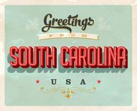 Vintage greetings from South Carolina Vacation Card. Vintage vector greetings vacation Card, with a realistic used and worn effect that can be easily removed for Royalty Free Stock Photography