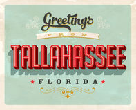 Vintage greetings from Tallahassee, Florida vacation card. Vintage vector greetings vacation card, with a realistic used and worn effect that can be easily Stock Photos