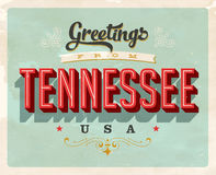 Vintage greetings from Tennessee Vacation Card. Vintage vector greetings vacation Card, with a realistic used and worn effect that can be easily removed for a Royalty Free Stock Image