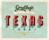 Vintage greetings from Texas Vacation Card. Vintage vector greetings vacation Card, with a realistic used and worn effect that can be easily removed for a clean Stock Images