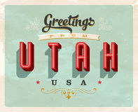 Vintage greetings from Utah Vacation Card. Vintage vector greetings vacation Card, with a realistic used and worn effect that can be easily removed for a clean Royalty Free Stock Photography