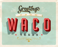 Vintage greetings from Waco, Texas vacation card. Vintage vector greetings vacation card, with a realistic used and worn effect that can be easily removed for a Royalty Free Stock Images