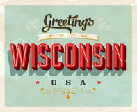 Vintage greetings from Wisconsin Vacation Card. Vintage vector greetings vacation Card, with a realistic used and worn effect that can be easily removed for a Stock Photography