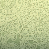Vintage grey and green wallpaper with paisley pattern Stock Photos