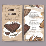 Vintage grill restaurant menu template with hand drawn color sketch Royalty Free Stock Image