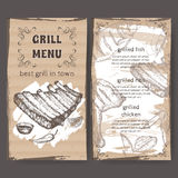 Vintage grill restaurant menu template with hand drawn sketch Royalty Free Stock Photography