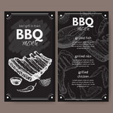 Vintage grill restaurant menu template with hand drawn sketch Stock Photos