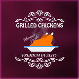 Vintage grilled chickens signage Stock Photos