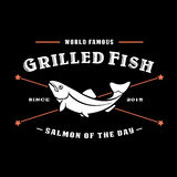 Vintage Grilled Fish, Salmon of the Day Seal vector illustration