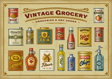Vintage Grocery Set. A set of vintage groceries in retro woodcut style. EPS10 vector illustration with transparency Stock Images