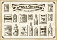 Vintage Grocery Set. One Color. A set of vintage one-colored groceries in retro woodcut style. EPS10 vector illustration with transparency Royalty Free Stock Image