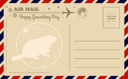 Vintage Groundhog Day Postcard. Vector illustration. royalty free illustration