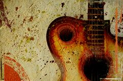Vintage grunge background with guitar. On wall Royalty Free Stock Images