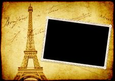 Vintage grunge background with old paper texture and Eiffel Towe. Vintage grunge background with old paper texture, vintage photo and Eiffel Tower - famous Stock Image