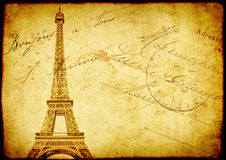 Vintage grunge background with old paper texture and Eiffel Towe. R - famous landmark of Paris Stock Images