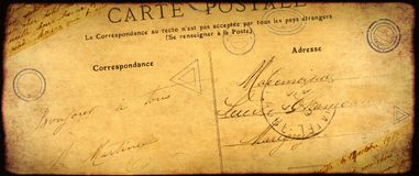 Vintage grunge background with old paper texture and inscription. Grunge vintage background with old paper texture, stamps and inscription `Bonjour a tout` Hello stock photography