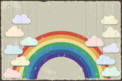 Vintage grunge background with rainbow. Vector Stock Photography