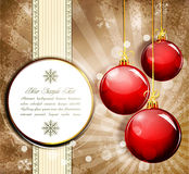 Vintage grunge background with red  New Year ball Stock Photos