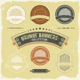 Vintage Grunge Banner And Labels Collection. Illustration of a set of design grunge vintage banners, labels, seal stamper and ornaments patterns Stock Photography