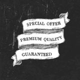 Vintage grunge black and white ribbon template. Vector royalty free illustration