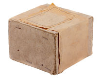 Vintage grunge cardboard box isolated on white background Royalty Free Stock Photos