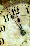 Vintage Grunge Clock Face Closeup. Antique Photo Look Royalty Free Stock Photo