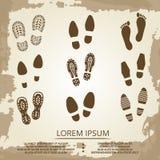 Vintage grunge footsteps poster design. Footprint step art, vector illustration Royalty Free Stock Image