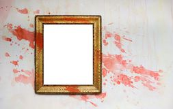 Vintage grunge frame with paint splatters. Blank Vintage grunge frame with paint splatters, free picture space, free copy space Stock Photos