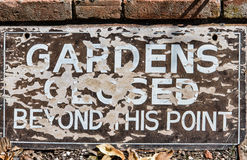 Gardens closed sign Stock Images